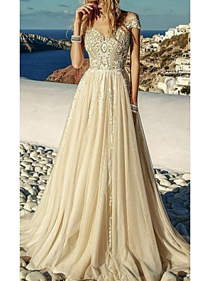 cheap Wedding Dresses-A-Line Wedding Dresses Sweetheart Neckline Sweep / Brush Train Polyester Short Sleeve Country Plus Size with Lace Insert Appliques 2020