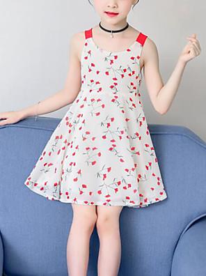 cheap Girls' Dresses-Kids Girls' Cute Street chic Floral Patchwork Patchwork Print Sleeveless Dress Yellow