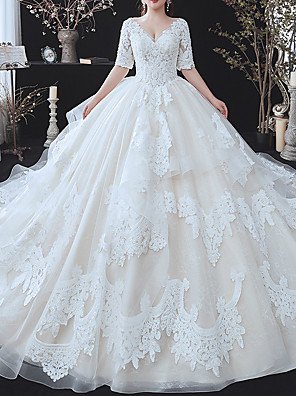 cheap Cocktail Dresses-Ball Gown Wedding Dresses V Neck Watteau Train Lace Tulle Half Sleeve Formal Wedding Dress in Color with Ruffles Appliques 2020