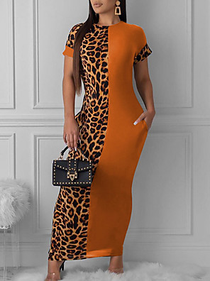 cheap Print Dresses-Women's Maxi Sheath Dress - Short Sleeve Leopard Black Orange S M L XL XXL XXXL
