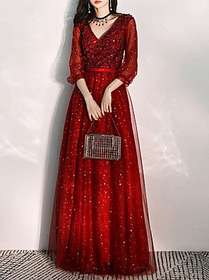 cheap Special Occasion Dresses-A-Line Elegant Red Wedding Guest Prom Dress V Neck 3/4 Length Sleeve Floor Length Tulle with Pleats Sequin Appliques 2020