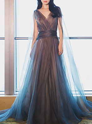 cheap Bridesmaid Dresses-A-Line Minimalist Blue Engagement Formal Evening Dress V Neck Sleeveless Floor Length Tulle with Pleats 2020