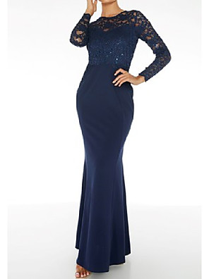 cheap Evening Dresses-Mermaid / Trumpet Jewel Neck Floor Length Lace / Stretch Satin Bridesmaid Dress with Sequin / Ruching