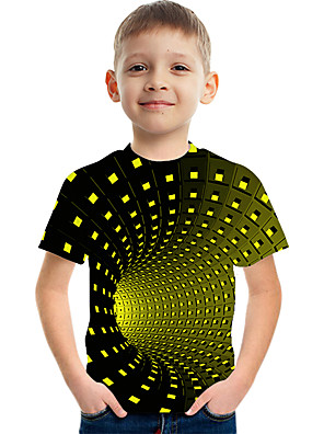 cheap Boys' Tops-Kids Boys' Basic Street chic Color Block 3D Rainbow Print Short Sleeve Tee Yellow