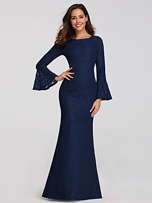 cheap Evening Dresses-Mermaid / Trumpet Elegant Blue Wedding Guest Formal Evening Dress Boat Neck Long Sleeve Floor Length Lace with Sleek 2020 / Illusion Sleeve