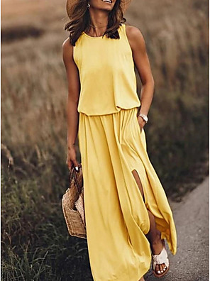 cheap Summer Dresses-Women's Maxi Sheath Dress - Sleeveless Solid Color Elegant Blue Yellow Fuchsia Khaki S M L XL XXL XXXL XXXXL XXXXXL
