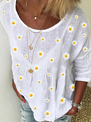 cheap Women's T-shirts-Women's Blouse Floral Print Tops White Green Light Blue