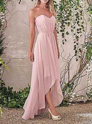 cheap Bridesmaid Dresses-Sheath / Column Sweetheart Neckline Asymmetrical Chiffon / Lace Bridesmaid Dress with Ruching