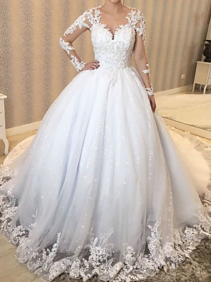 cheap Wedding Dresses-A-Line Wedding Dresses V Neck Sweep / Brush Train Lace Tulle Polyester Long Sleeve Country Plus Size with Beading Embroidery Appliques 2020
