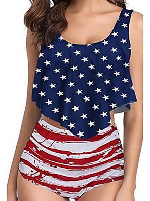 cheap Tankinis-Women's Navy Blue Bikini Swimwear Swimsuit - Geometric S M L Navy Blue
