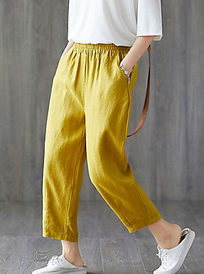 cheap Mini Dresses-Women's Basic Loose Chinos Pants - Solid Colored White Black Yellow M / L / XL