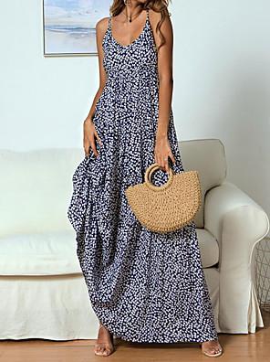 cheap Mini Dresses-Women's Maxi A Line Dress - Sleeveless Print Strap Red Navy Blue S M L XL