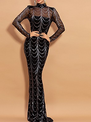 cheap Evening Dresses-Mermaid / Trumpet Sparkle Black Wedding Guest Prom Dress High Neck Long Sleeve Floor Length Polyester with Sequin 2020