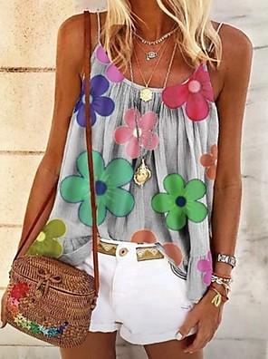 cheap Women's Blouses-Women's Floral Print Blouse Daily Strap White / Black / Blue / Blushing Pink / Gray