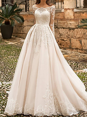 cheap Wedding Dresses-A-Line Wedding Dresses Off Shoulder Sweep / Brush Train Polyester Long Sleeve Country Plus Size with Lace Embroidery 2020