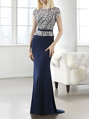 cheap Mother of the Bride Dresses-Mermaid / Trumpet Mother of the Bride Dress Elegant Jewel Neck Sweep / Brush Train Polyester Short Sleeve with Beading Sequin Appliques 2020