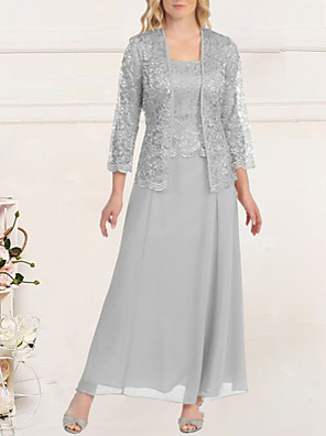 cheap Evening Dresses-Sheath / Column Empire Elegant Wedding Guest Formal Evening Dress Scoop Neck Long Sleeve Floor Length Lace with Lace Insert 2020