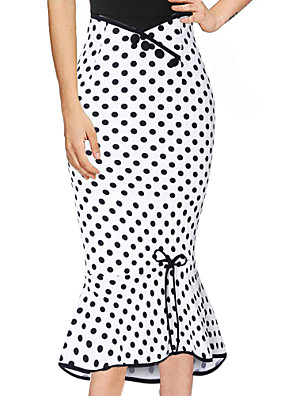 cheap Women's Blouses & Shirts-Women's Midi Trumpet / Mermaid Skirts Polka Dot