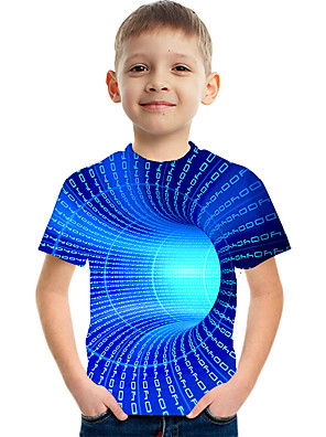 cheap Boys' Tops-Kids Boys' Basic Street chic Color Block 3D Rainbow Print Short Sleeve Tee Blue