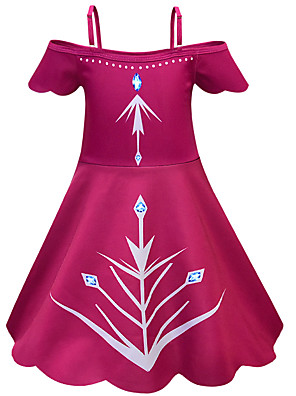 cheap Girls' Dresses-Kids Girls' Active Chinoiserie Solid Colored Halloween Sleeveless Knee-length Dress Wine