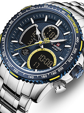 cheap Sport Watches-Men's Steel Band Watches Quartz Stylish Luxury Water Resistant / Waterproof Stainless Steel Black / Silver Analog - Digital - Black+Gloden Black Blue One Year Battery Life / Japanese / Chronograph