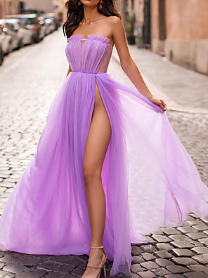cheap Prom Dresses-A-Line Minimalist Purple Wedding Guest Prom Dress Strapless Sleeveless Floor Length Tulle with Pleats Split 2020