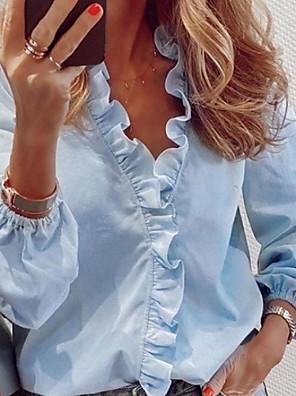 cheap Women's Blouses & Shirts-Women's Shirt Solid Colored Ruffle Tops V Neck White Black Blue / Spring / Summer / Long Sleeve
