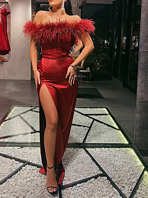 cheap Evening Dresses-Sheath / Column Sexy Red Wedding Guest Formal Evening Dress Off Shoulder Sleeveless Sweep / Brush Train Satin with Sash / Ribbon Split 2020