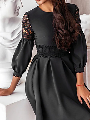 cheap For Young Women-Women's A Line Dress - 3/4 Length Sleeve Solid Color White Black S M L