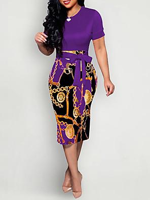 cheap Women's Dresses-Women's Sheath Dress - Short Sleeve Geometric Elegant Slim Wine Blue Purple Red Army Green Green S M L XL XXL
