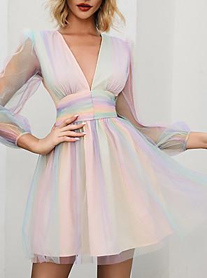 cheap Print Dresses-Deep V Iridescent High Waist Layered Translucent Outer Dress Mini Ruffle Skater Dress MM0327