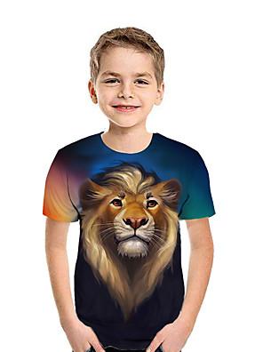 cheap Boys' Tops-Kids Boys' Basic 3D Short Sleeve Tee Rainbow