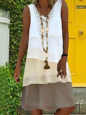 cheap Summer Dresses-Women's Loose Dress - Sleeveless Print Color Block V Neck Loose Green Beige Gray S M L XL XXL XXXL XXXXL XXXXXL