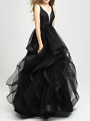 cheap Evening Dresses-Ball Gown Elegant Black Engagement Prom Dress V Neck Sleeveless Asymmetrical Tulle with Tier 2020
