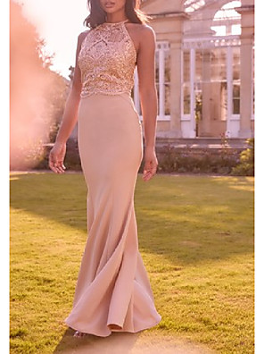cheap Bridesmaid Dresses-Mermaid / Trumpet Jewel Neck Floor Length Polyester / Lace Bridesmaid Dress with Lace