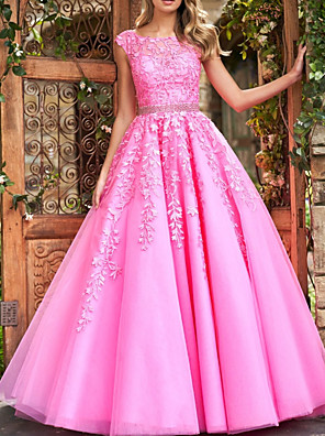 cheap Prom Dresses-Ball Gown Floral Pink Quinceanera Prom Dress Illusion Neck Sleeveless Court Train Polyester with Crystals Appliques 2020