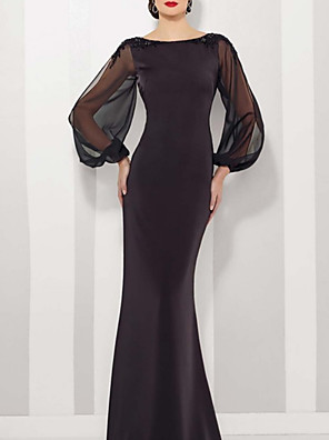 cheap Evening Dresses-Mermaid / Trumpet Mother of the Bride Dress Elegant Jewel Neck Floor Length Satin Tulle Long Sleeve with Appliques 2020 / Illusion Sleeve