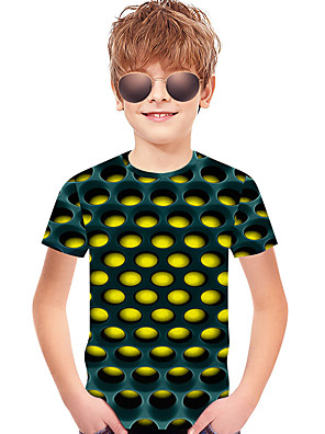 cheap Bikinis-Kids Toddler Boys' Active Basic Rubik's Cube Polka Dot Geometric 3D Print Short Sleeve Tee Blue