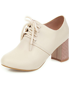 cheap Women's T-shirts-Women's Oxfords 2020 Chunky Heel Round Toe PU Preppy / Minimalism Spring &  Fall Pink / White / Beige / Party & Evening
