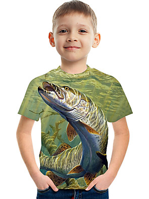 cheap Boys' Clothing Sets-Kids Boys' Active Street chic Color Block 3D Print Short Sleeve Tee Green
