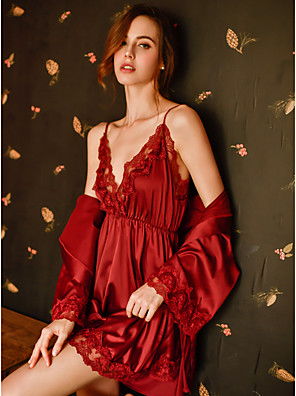 cheap Suits-Women's Lace / Cut Out / Mesh Robes / Suits Nightwear Jacquard / Solid Colored Blushing Pink Red White One-Size