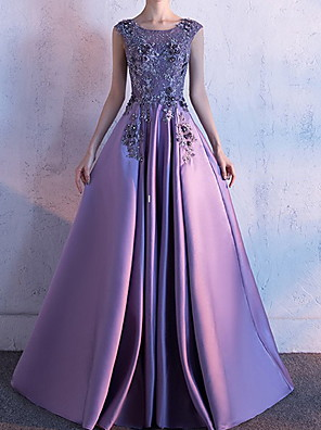 cheap Evening Dresses-Ball Gown Floral Luxurious Engagement Formal Evening Dress Jewel Neck Sleeveless Court Train Polyester with Pleats Embroidery 2020