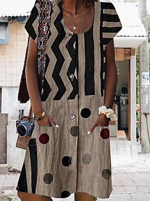 cheap Summer Dresses-Women's Short Mini Dress - Short Sleeves Polka Dot Striped Print Summer Casual Vacation Wine Blue Khaki Light gray Dark Gray S M L XL XXL XXXL XXXXL XXXXXL