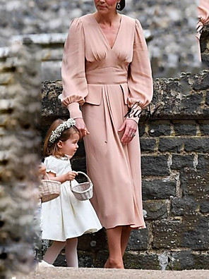 cheap Bridesmaid Dresses-A-Line Mother of the Bride Dress Vintage V Neck Ankle Length Chiffon Long Sleeve with Ruching 2020