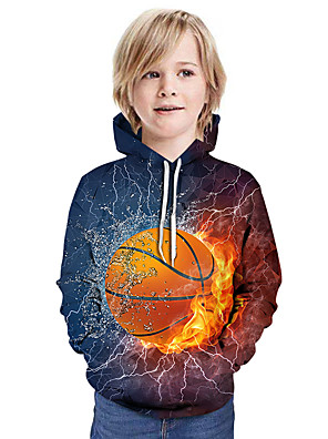 cheap Boys' Tops-Kids Boys' Active Street chic 3D Patchwork Print Long Sleeve Hoodie & Sweatshirt Rainbow