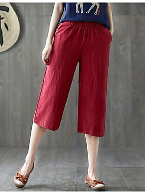cheap Women's Pants-Women's Basic Loose Linen Chinos Pants - Solid Colored Wine White Black M / L / XL
