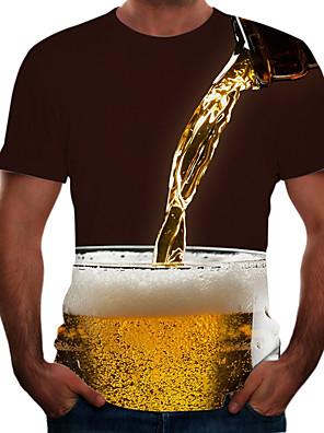 お買い得  メンズTシャツ&タンクトップ-男性用 プラスサイズ Tシャツ 3D グラフィック ビール 半袖 トップの ベーシック ラウンドネック ブラック