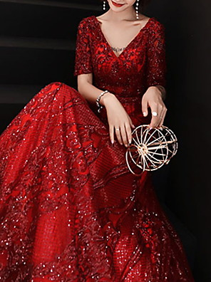 cheap Evening Dresses-A-Line Sparkle Red Prom Formal Evening Dress V Neck Short Sleeve Floor Length Polyester with Sequin 2020