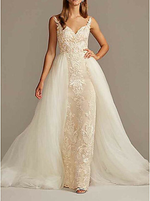 cheap Wedding Dresses-Mermaid / Trumpet Wedding Dresses Jewel Neck Sweep / Brush Train Tulle Sleeveless Country See-Through Plus Size with Pearls Embroidery 2020