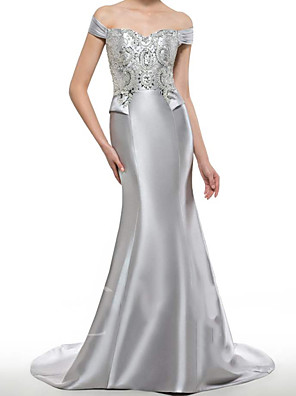 cheap Evening Dresses-Mermaid / Trumpet Mother of the Bride Dress Elegant Off Shoulder Sweep / Brush Train Satin Short Sleeve with Beading Sequin 2020